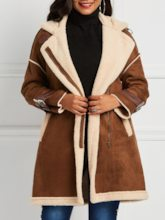 Faux Fur Collar Side Zipper Winter Shearling Women's Overcoat