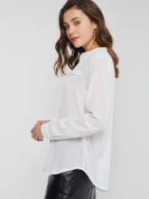 Plain Stand Collar Single-Breasted Long Sleeve Women's Shirt