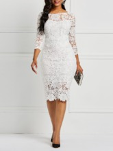 African Fashion Three-Quarter Sleeve Sexy Floral Women's Lace Dress
