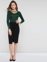 Slim V-Neck Hollow Plain Women's Sweater