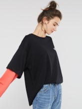 Round Neck Mid-Length Double-Layer Letter Print Women's T-Shirt