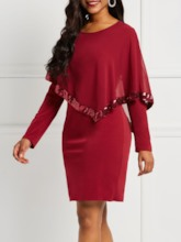 Round Neck Patchwork Long Sleeve Women's Bodycon Dress
