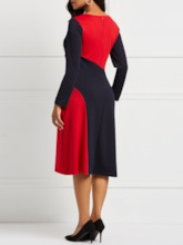 Pocket V-Neck Long Sleeve Color Block Women's Sheath Dress