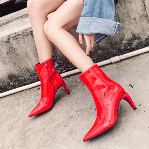 Chunky Heel Pointed Toe Plain Side Zipper Casual Unique Ankle Boots