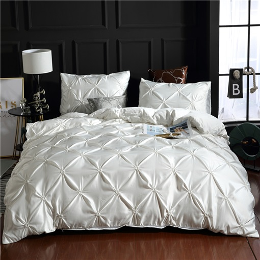 Unique Pintuck Pleat Design Polyester 3-Piece Bedding Sets Duvet Covers