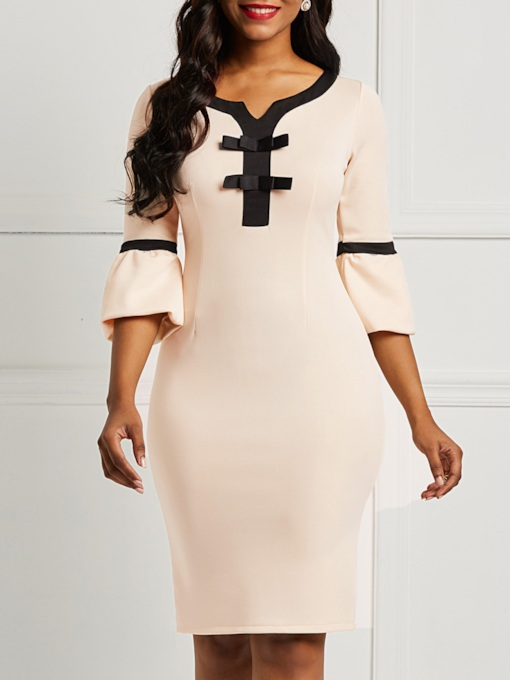 Half Sleeve V-Neck Falbala Bodycon Women's Sheath Dress