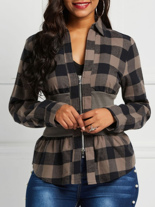 Zipper Lapel Color Block Plaid Women's Shirt