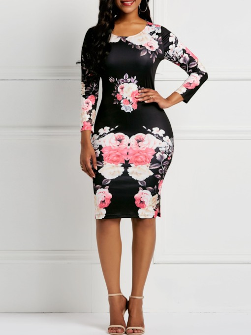 Print Long Sleeve Floral Women's Bodycon Dress