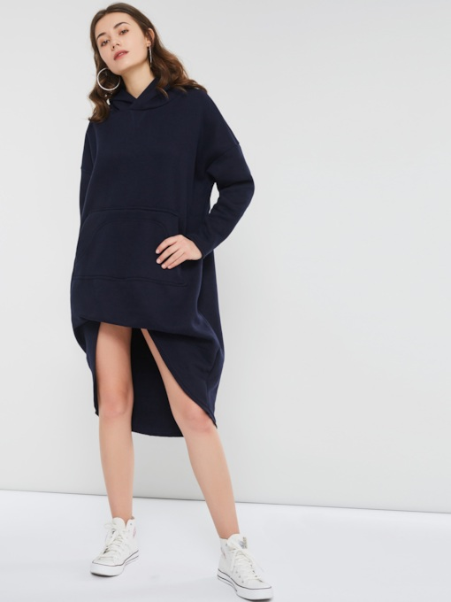 Hooded Pocket Asymmetric Women's Long Sleeve Dress