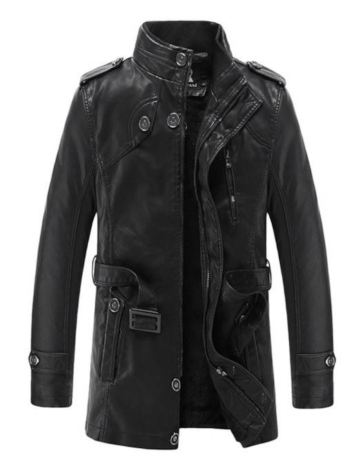 Zipper Stand Collar Slim Plain Winter OL Men's Leather Jacket