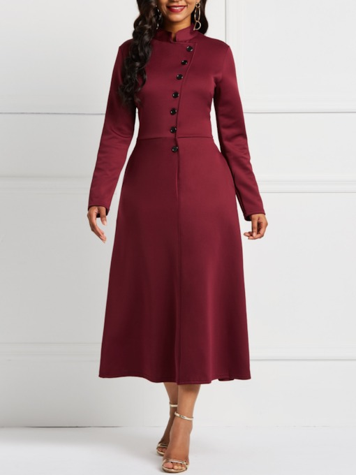 Stand Collar Long Sleeve A-Line Women's Maxi Dress
