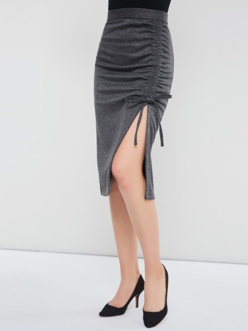 Drawstring Split High-Waist Mid-Calf Women's Pencil Skirt