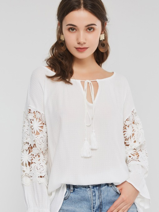 Plain Hollow Flare Sleeve Mid-Length Women's Blouse