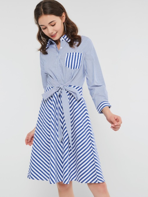 Patchwork Single-Breasted Stripe Women's Long Sleeve Dress