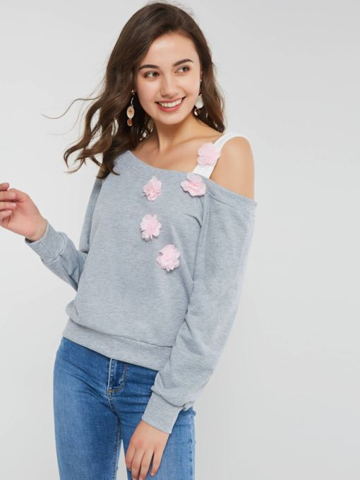 Appliques Plain Backless Long Sleeve Women's Sweatshirt