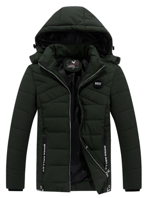 Slim Thick Letter Stand Collar Zipper Korean Men's Down Jacket