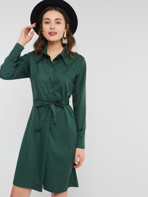 Lapel Lace-Up Single-Breasted Women's Long Sleeve Dresses