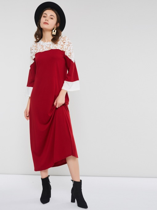 Christmas Hollow Round Neck Color Block Women's Maxi Dress