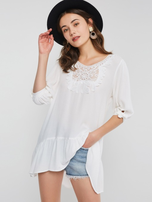 Half Sleeve Lace Patchwork Mid-Length Women's Blouse