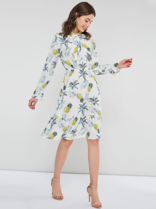 Long Sleeve Print Bow Collar Women's Long Sleeve Dress