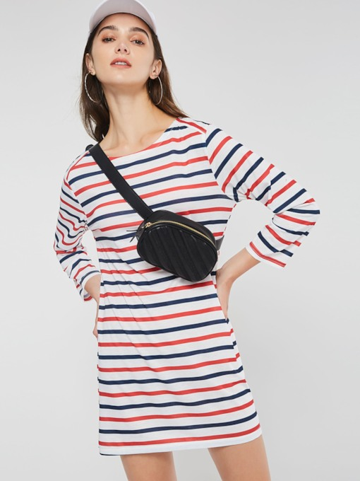 Stripe Straight Women's Long Sleeve Dress