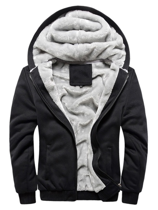 Plain Cardigan Loose Zipper Plus Fur Men's Hoodie