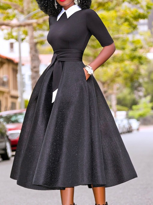African Fashion Hollow Bowknot Stand Collar Half Sleeve Women's Maxi Dress