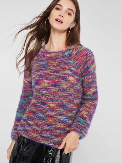 Color Block Round Neck Loose Women's Sweater