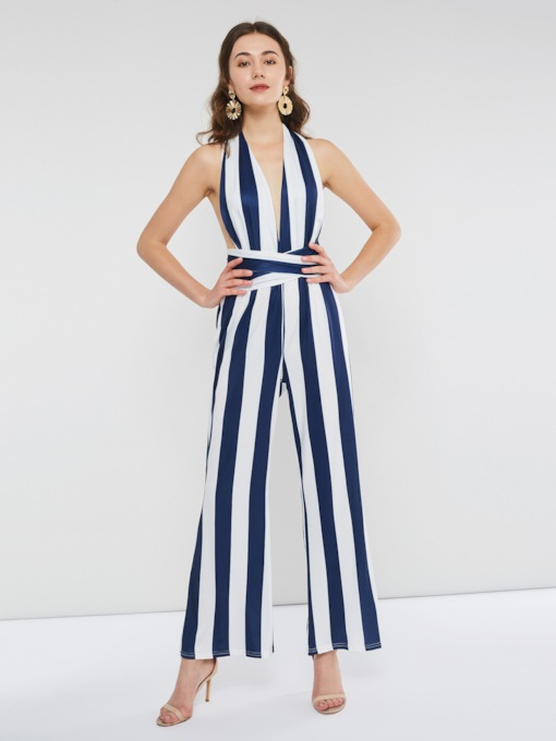 Backless Full Length Stripe Wide Legs Slim Women's Jumpsuits