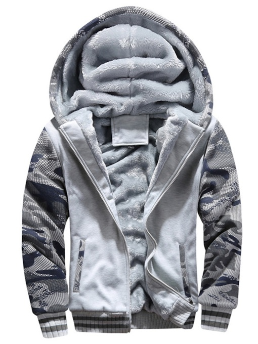 Fleece Zipper Patchwork Cardigan Plus Fur Men's Hoodie