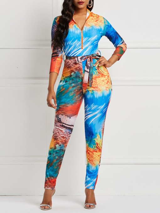 Print Fashion Full Length Mid-Waist Women's Jumpsuits
