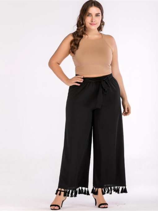Plus Size Lace-Up Tassel Wide Legs Full Length Women's Casual Pants