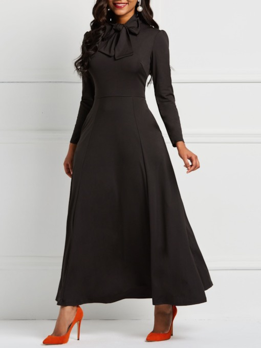 Round Neck Long Sleeve Women's Maxi Dress