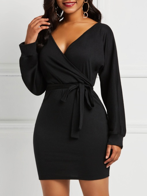 Lace-Up Long Sleeve V-Neck Women's Bodycon Dress