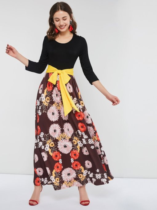 Round Neck Floral Prints Lace-Up Women's Maxi Dress