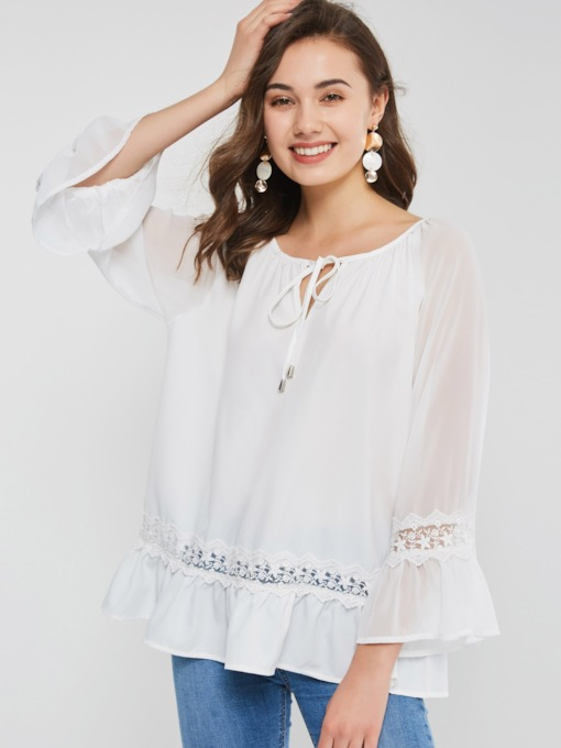 Lace Patchwork Flare Sleeve Women's Blouse