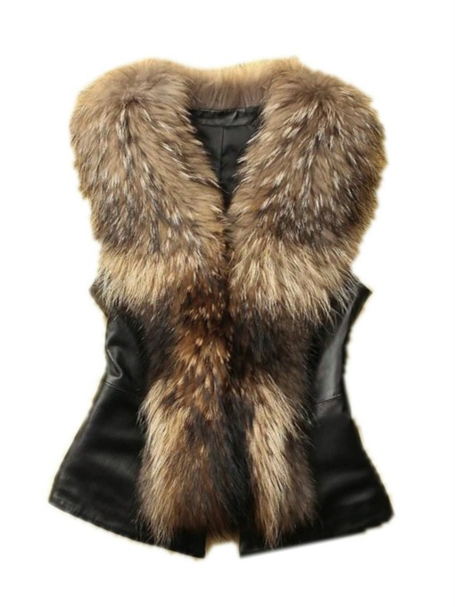 I Type Standard Women's Imitation Faux Fur Collar PU Vest