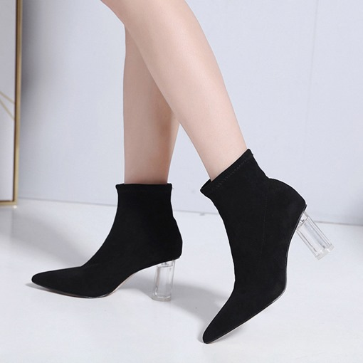 Slip-On Pointed Toe Plain Chunky Heel Stylish Women's Ankle Boots