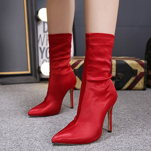 Plain Stiletto Heel Pointed Toe Slip-On Chic Women's Ankle Boots