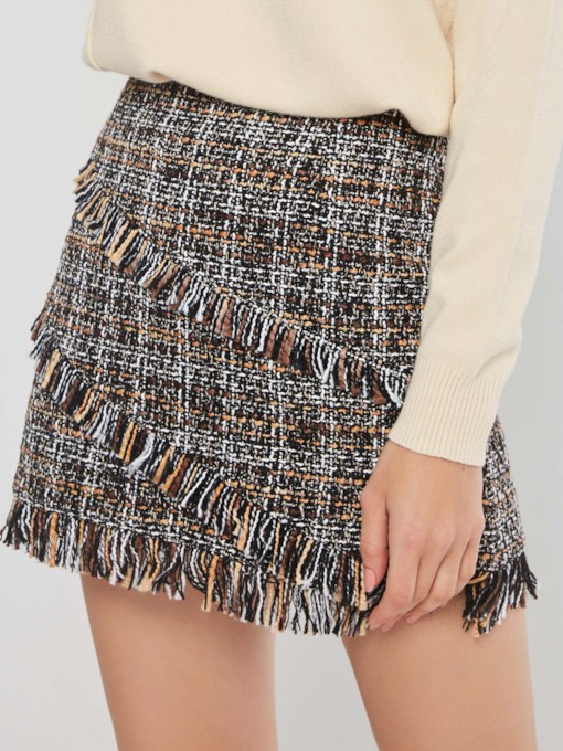 Tassel A-Line High-Waist Plaid Women's Mini Skirt