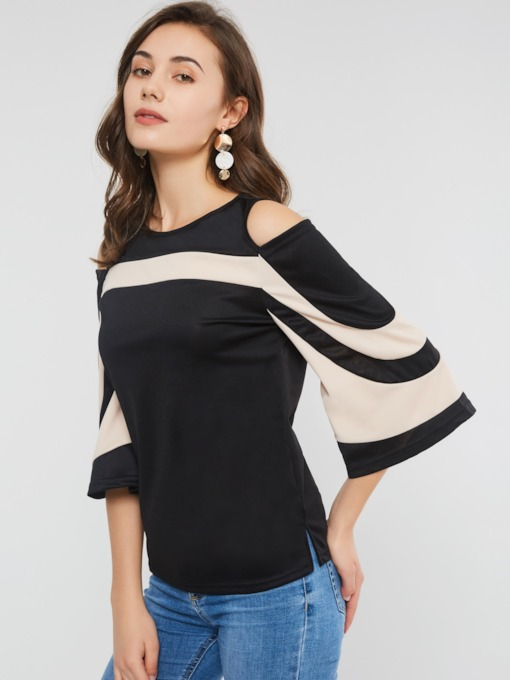 Three-Quarter Sleeve Color Block Hollow Women's T-Shirt