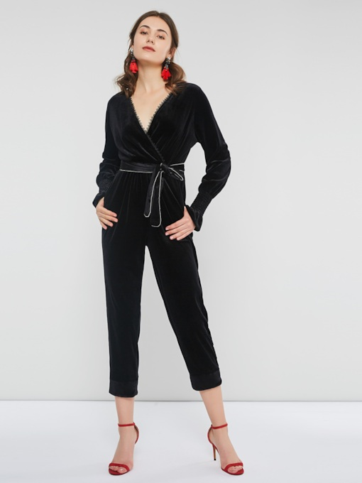 Casual Full Length High-Waist Lace-Up Slim Women's Jumpsuits
