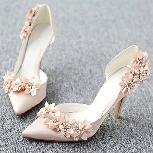 3D Floral Stiletto Heel Pointed Toe Slip-On Women's Wedding Shoes