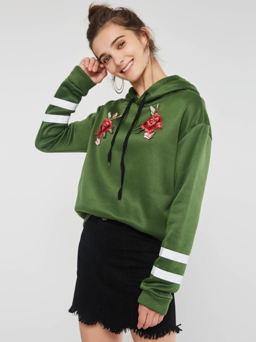 Drawstring Floral Embroideried Long Sleeve Women's Hoodie