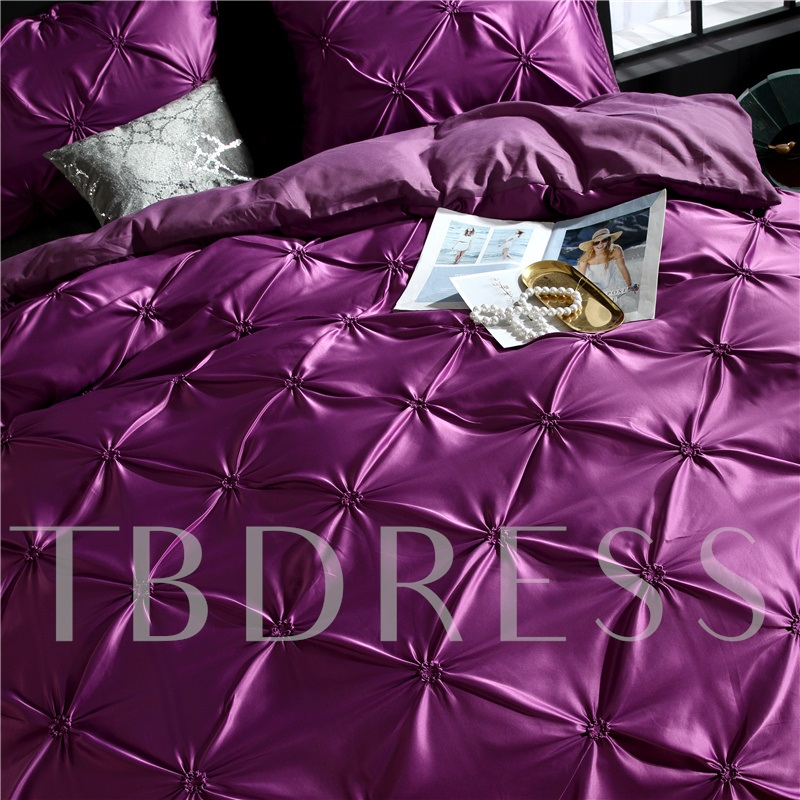 Unique Pintuck Pleat Design Polyester 3-Piece Bedding Sets/Duvet Covers
