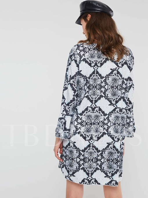 Print Pullover V-Neck Sexy Women's Long Sleeve Dress