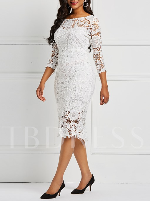 Three-Quarter Sleeve Sexy Floral Women's Lace Dress