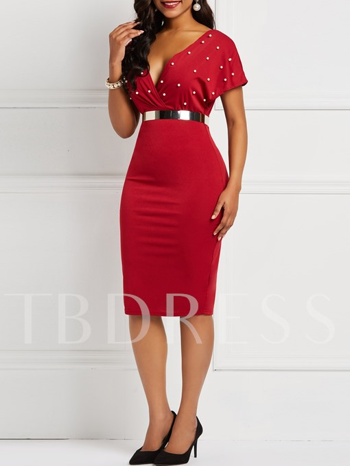 Short Sleeve Bead V Neck Women's Bodycon Dress