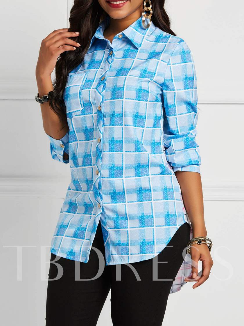 Floral Print Lapel Color Block Mid-Length Women's Shirt