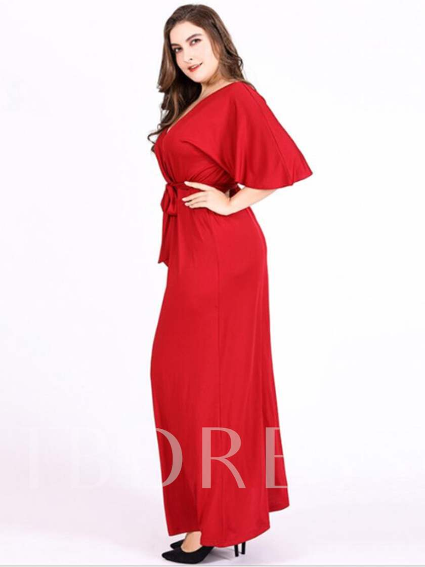 V-Neck Half Sleeve Pullover Women's Maxi Dress